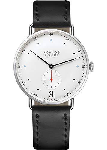 NOMOS GLASHUETTE MEN'S METRO 38MM BLACK LEATHER BAND MECHANICAL WATCH 1102