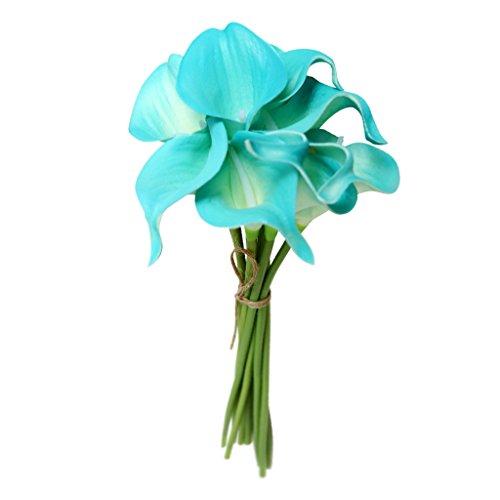 MagiDeal Künstliche Calla Lilien Blumenstrauß Hochzeit Dekor Set/10 Stems - Blau, 16 x 16 x 34,5 cm (Strauß Seidenblumen)