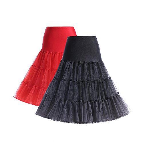 BOOLAVARD® 50er Jahre Petticoat Vintage Retro Reifrock Petticoat Unterrock für Wedding bridal Petticoat Rockabilly Kleid in mehreren Farben 2er Gesmicht (Schwarz + Rot)