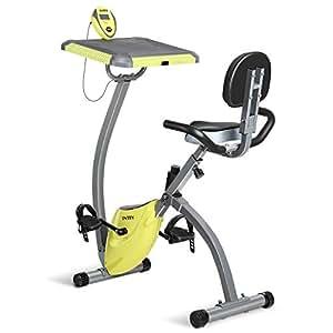 INTEY Cyclette Pieghevole Magnetica F-Bike per Esercizi Bici X-Bike con un Poggia Computer e Banda Espandibile, Computer Silenzioso e Veloce che Include uno Schermo LCD per Casa e in Ufficio, Gialla