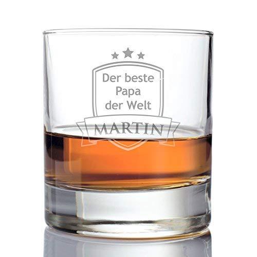 AMAVEL Whiskyglas – Tumbler mit Gravur – Der beste Papa der Welt – Wappen – Personalisiert mit Namen – Geburtstag Männer – Füllmenge: 320 ml