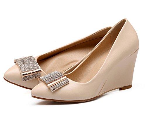YE Damen Elegant Wedges Glitzer High Heels Pumps mit Keilabsatz und Strass 8cm Absatz Bequem Party Kleidschuhe Beige