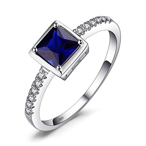 JewelryPalace 0.91ct Elégant Bague Femme Canal en Argent Sterling 925 en Saphir de Synthèse Bleue