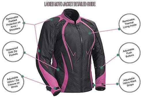 Juicy Trendz Damen Motorradjacke Frauen Wasserdicht Cordura Textil Motorrad jacke Pink Large - 2