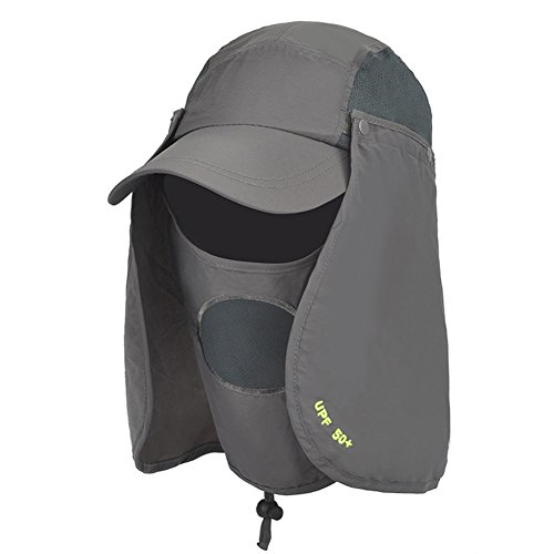 WYYY Chapeaux Hommes Visière Polyester Respirant Complet Protection Contre Le Soleil Protection UV De Plein Air 52-60cm (Couleur : Gris foncé)