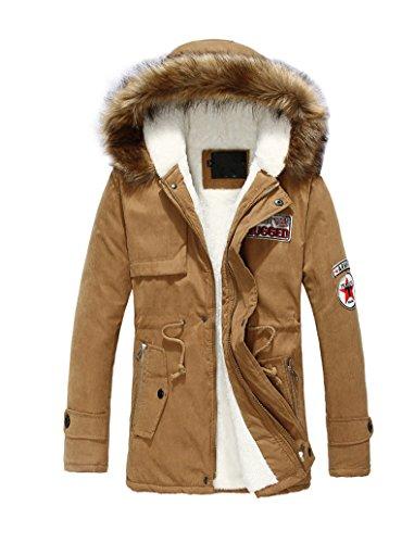 Brinny Homme Veste à Capuche Hiver Manteau Blouson Garçon Chaud Parka Veston Militaire Hoodie Long Coton 298 Kaki