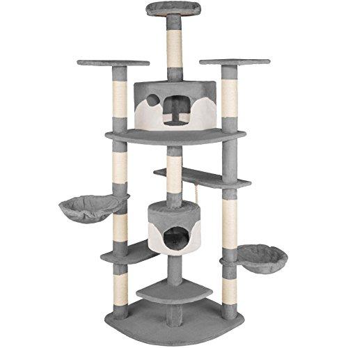 *TecTake Kratzbaum für Katzen Katzenkratzbaum Katzenbaum Kletterbaum SISAL – diverse Farben – (grau-weiss | Nr. 402184)*