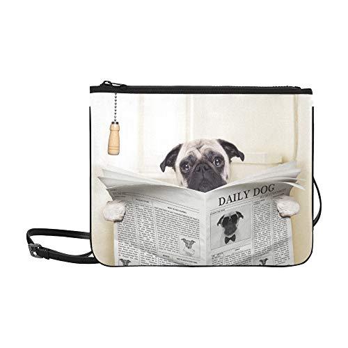 WYYWCY Hund lesen Zeitung oder Magazin Muster benutzerdefinierte hochwertige Nylon dünne Clutch Crossbody Tasche Umhängetasche -