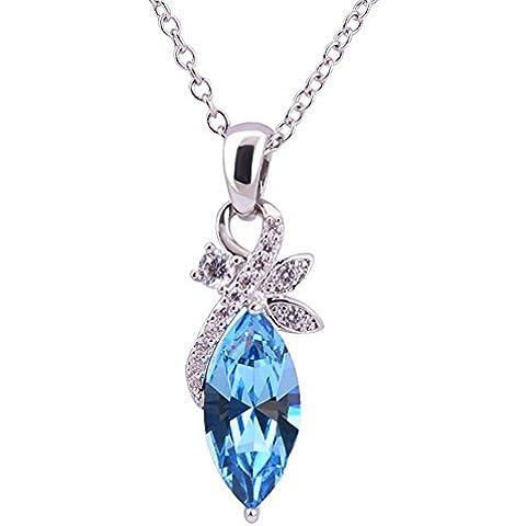 La Noche Estrellada Hojas de acacia azul colgante de cristal collar de cadena de clavícula Diamond Accented Plata