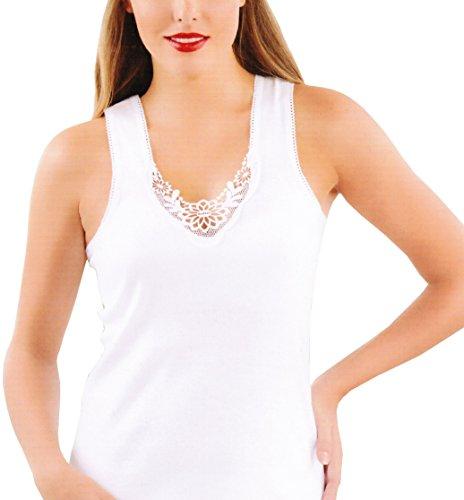 Damen Unterhemd mit Spitze im 2er-Pack aus BIO-Baumwolle, hergestellt nach -ÖKO Tex Standard 100 - deutsches Zertifikat Weiß