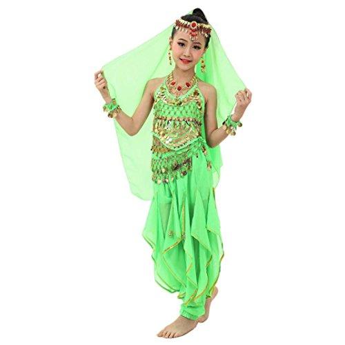 Kostüm Indischer Tanz Jungen - Hunpta Handgemachte Kinder Mädchen Bauchtanz Kostüme Kinder Bauchtanz Ägypten Tanz Tuch (126-139CM, Grün)