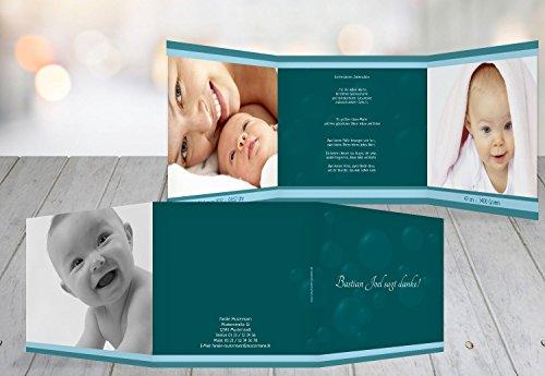 agung für Geburt Baby Dankeskarte bubbles, hochwertige Danksagungskarte Baby inklusive Umschläge   5 Karten - (Format: 145x145 mm) Farbe: Türkisdunkel (Dankeskarten Baby)
