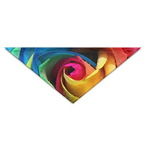 Gxdchfj Beautiful Rainbow Rose Triangle Pet Scarf Dog Bandana Pet Collars for Dog Cat - ()