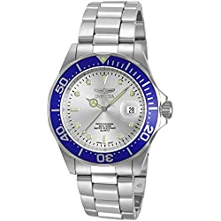 Invicta Men's Quartz Watch with Silver Dial Analogue Display and Silver Stainless Steel Bracelet 14123