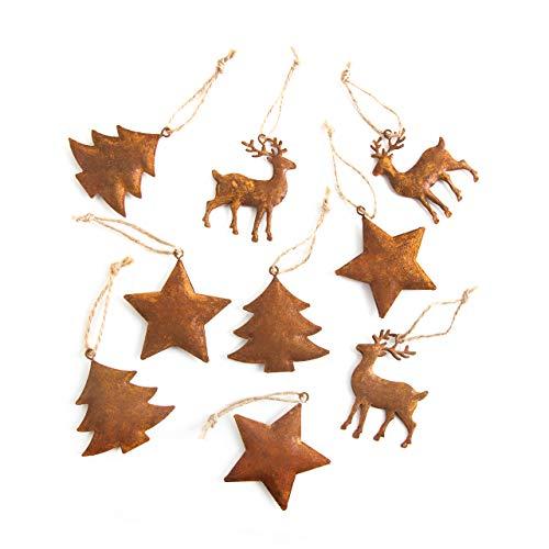 2 x 9 Stück kleine METALL BLECH Weihnachtsanhänger 5-6 cm ROST Patina natur STERN BAUM HIRSCH Geschenk-Anhänger Weihnachten Weihnachtsdeko Christbaumschmuck Baumschmuck