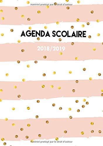 Agenda Scolaire 2018-2019: Agenda Scolaire semainier 2018-2019, rayures roses et pois, 1 semaine par 2 pages Format A5 avec slogans inspirants