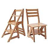 ZENGAI holzleiter 3-stufig Multi-Funktion Falten Steigen Stuhl Dual-Use Haushalt Innen Tritthocker für Erwachsene (Farbe : Natürlich)