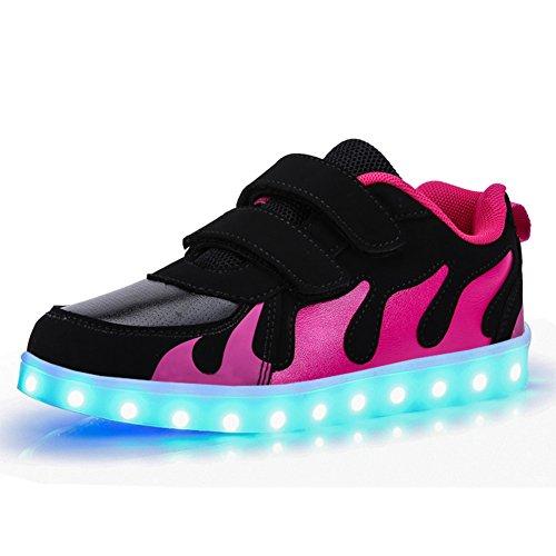 KE-Unisex-Nios-11-modo-llev-luz-parpadeante-USB-carga-zapatos-trainer-gimnasio-deportivo-zapatos-zapatos-para-nios-Holiday-Gifts