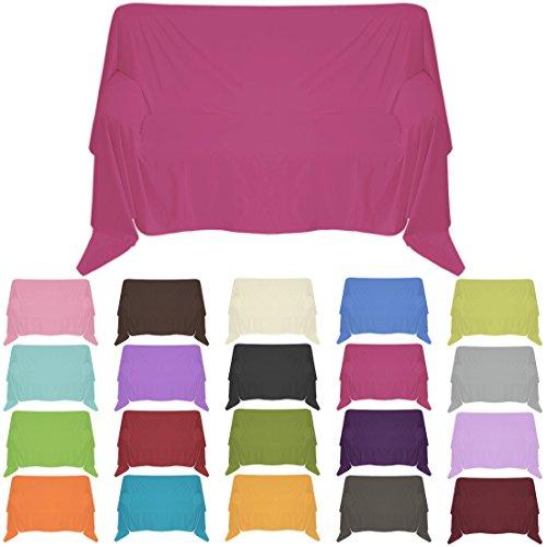 Nurtextil24 Sofaüberwurf in 30 Farben und 4 Größen Überwurf aus 100% Baumwolle Pink 240 x 250 cm