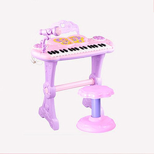 QXMEI Kinder-Keyboard 37-Tasten Klaviertastatur Mit Mikrofon Magic Voice Changer Multifunktions-Piano (pink Blau),Pink