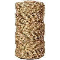 Westeng 1 mm trenzado cuerda de cáñamo sintético – Rollo de cordel de yute natural 100 M para aplicaciones de jardinería, libro, regalo