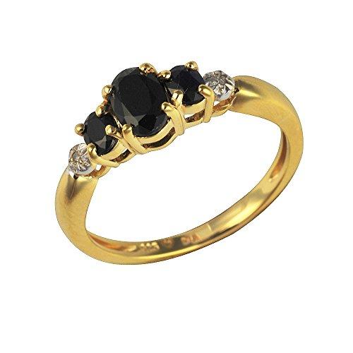 Ivy Gems Trilogie-Ring Sterling-Silber 925 vergoldet Saphir und Diamanten (Saphir Ring Gold Rose Rosa)