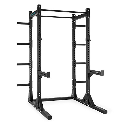 capital-sports-bestride-power-rack-half-rack-steel-adjustable-j-cups-8-brackets-two-pull-up-bars-bla