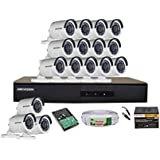 Hikvision DS-7016HGHI-F1 720P (1MP) 16CH Turbo HD DVR 1Pcs + Hikvision DS-2CE1ACOT-IRPF Bullet Camera 16Pcs + 1TB HDD + Active Copper Cable + Active Power Supply Full Combo Kit.