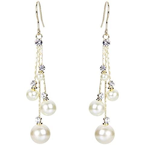 EleQueen Women's Gold-tone Simulated Pearl Crystal Circle Bridal Long Dangle Hook Earrings Ivory (Circles Ivory)