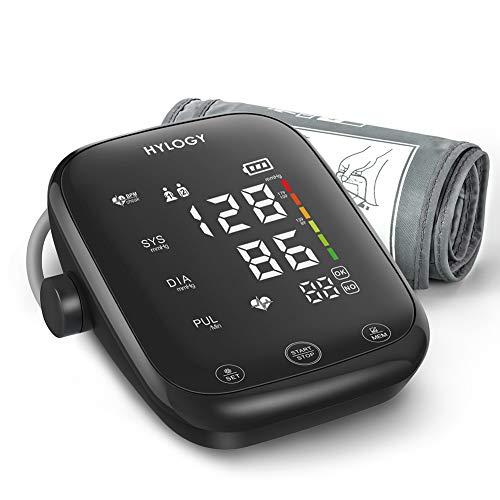 HYLOGY Misuratore di Pressione da Braccio, Digitale Automatica Sfigmomanometro da Braccio, Grande Touchable Schermo LED e Trasmissione Vocale, 2 * 90 Memoria e Grande Bracciale