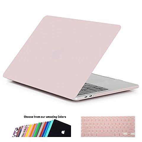 MacBook Pro 15 Hülle 2016 Touch Bar, iNeseon Ultra Slim Plastik Hartschale Tasche Cover snap on Schutzhülle Schale mit US Rose Quartz und EU Transparent Silikon Tastatur-Abdeckung Schutzhülle für Neueste Apple MacBook Pro 15 Zoll mit Touch Bar A1707, Rose