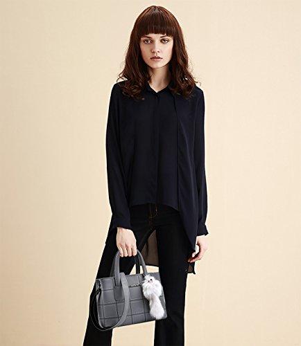 NICOLE&DORIS Signore / donne alla moda di modo borsa del messaggero di Crossbody borsa a tracolla lavoro Tote della cartella PU leggero Nero Grigio chiaro