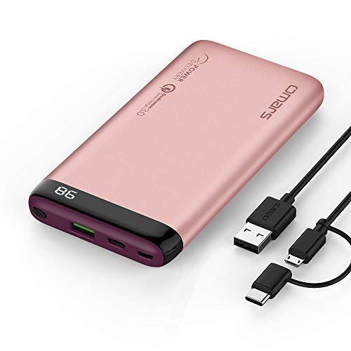 Omars Powerbank 10000mAh Handy Quick Charge USB C PD(Input/Output bis 3A), USB QC 3.0 18W Ausgang, Display Digital Anzeige, Schnellladefunktion für iPhone X 8 Samsung Galaxy S9 S8 Switch 10000 Rosa