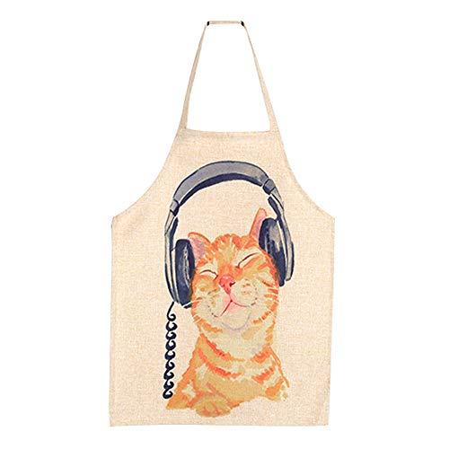 CAOLATOR Kinderschürze Kochschürze Kopfh?rer Katze Backschürze Grillschürze Latzschürze küchenschürze Kellnerschürze Anti-Öl Antifouling Küche Hause Restaurant Schürze