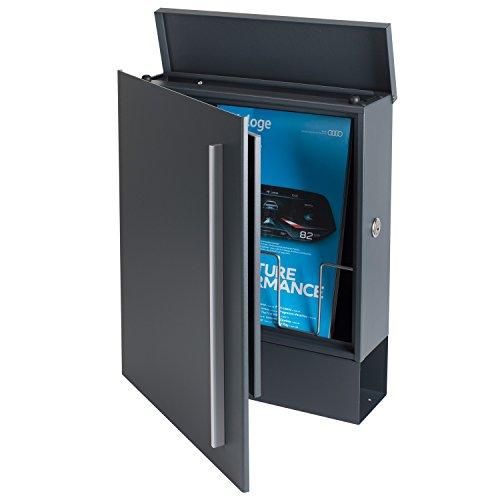 MOCAVI Box 110 Design-Briefkasten mit Zeitungsfach anthrazit-grau (RAL 7016) Wandbriefkasten, Schloss rechts, groß, Aufputzbriefkasten dunkelgrau, Postkasten anthrazitgrau modern mit Zeitungsrolle - 6