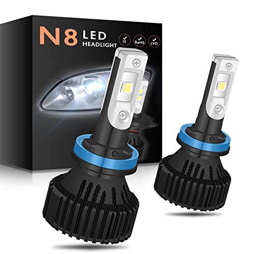 NGCAT 2PCS H11 Lampadine fari Kit faro auto, 10000 lumen CREE-XHP50 LED chip H8 H9 bianco puro 6500K LED lampadine Hi / Lo All-in-one LED automotive impermeabile, DC 9-32V 2pcs H11/H8/H9
