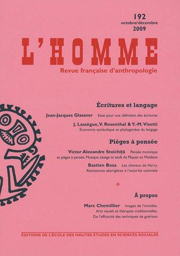 L'Homme, N° 192, octobre/déce : par EHESS, Jean-Jacques Glassner, Jean Lassègue, Victor Rosenthal, Collectif