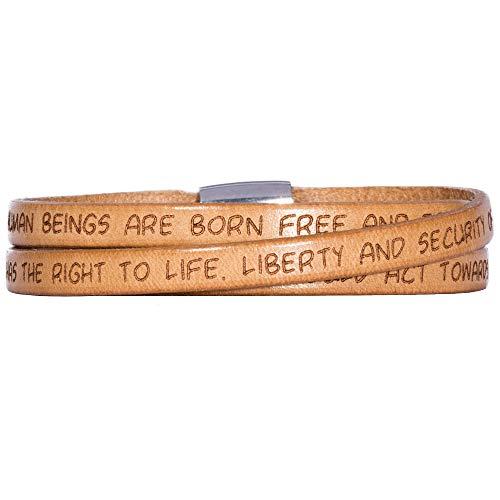 GILARDY GHR-BR1NA57 Human Rights Leder-Armband BR1 in der Farbe Nature mit Gravur der Menschenrechte 57cm - Medium
