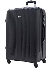 SUITLINE - Bagage à main, Valise cabine,Trolley, 4 roues, ABS très léger, TSA, 55 cm, 34 litres, Noir