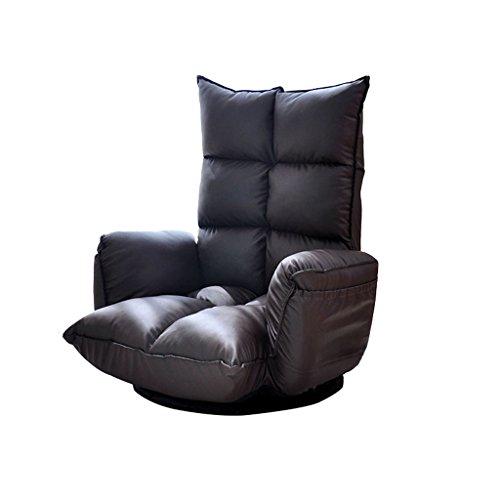 YJLAB Floor Stuhl Faltbare Drehbar Erker Einzelschlafsaal Schlafzimmer Computer Stuhl (Farbe : Black)