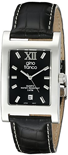 gino Franco Men's 997BK Stainless Steel Case and Genuine Leather Strap Watch