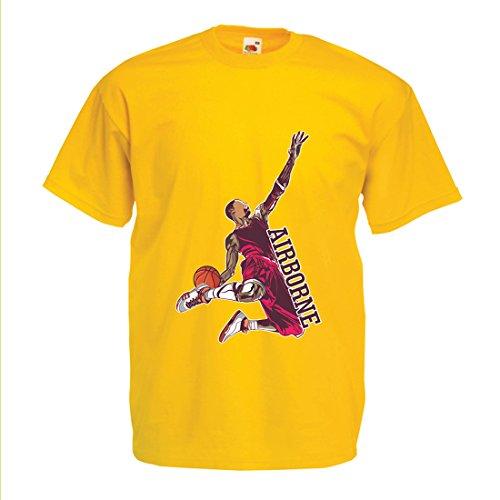 lepni.me Männer T-Shirt Sei der Herr der Schwerkraft, Basketball Freestyle Dunk - Ich Liebe Dieses Spiel (Medium Gelb - Halloween Lebron James