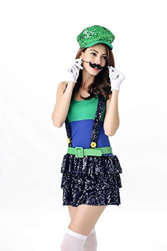 FHSIANN Halloween Damen Super Mario Kostüm Luigi Bruder Klempner (Sexy Mario Und Luigi Kostüm)