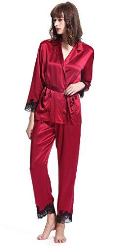 LILYSILK Ensemble de Pyjama en Soie pour Femme à Manches Longues 2 Pièces 22 Momme en Dentelle Chic XS Rouge Vineux