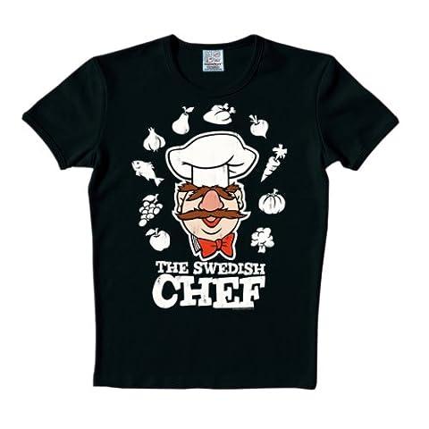 Logoshirt Unisex T-Shirts - Schwarz - Schwarz - M (Herstellergröße: M) (Muppets Chef Kostüm)