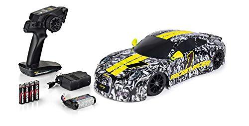 Carson 500404143 500404143-1:10 Secret Racer FE 100{ddc3b1ea3316140518d576b306ba4be8ac46537dfb5bc4ed7dac0f88cc1f08ab} RTR, Ferngesteuertes Auto, RC-Fahrzeug, inkl. Batterien und Fernsteuerung, schwarz,weiß,gelb