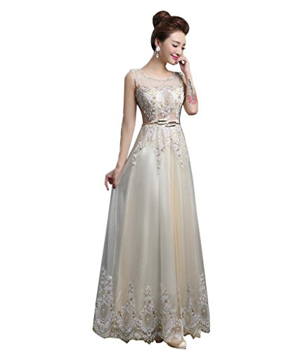 Drasawee Longue robe formelle pour femme Fausses Perles Champagne