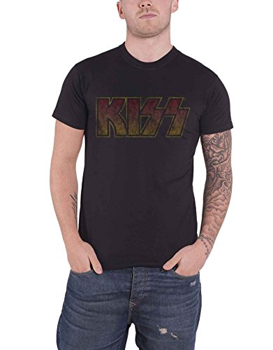 Kiss T Shirt Classic Band Logo Vintage Distressed Nue Offiziell Herren