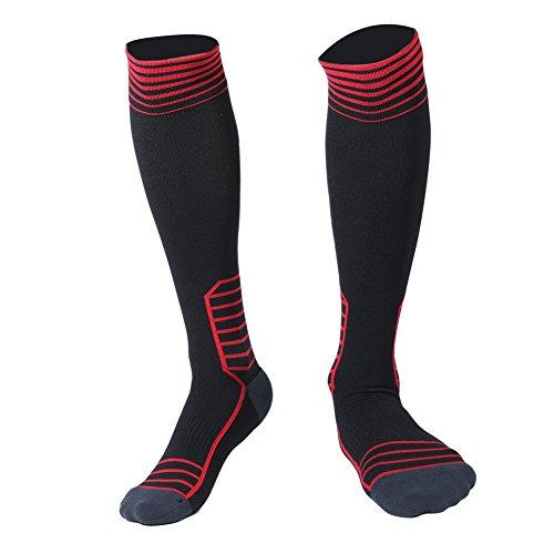 HAUEA Calcetines de Compresión Hombre y Mujer Medias de Compresión para Deporte Running Fútbol Ciclismo Mejorar Circulación y Recuperación Rápida (Negro & Rojo EU(L/XL39-43))