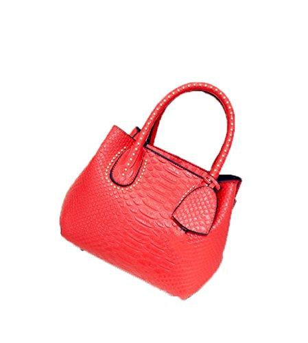 PACK Handtaschen Stein Muster Ring Shells Frauen Schulter Diagonal Tasche,D:Gray A:Red